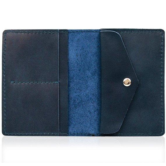 Skórzany cienki portfel slim wallet z miejscem na monety BRODRENE SW08 granatowy