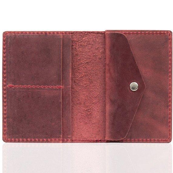 Skórzany cienki portfel slim wallet z miejscem na monety BRODRENE SW08 czerwony