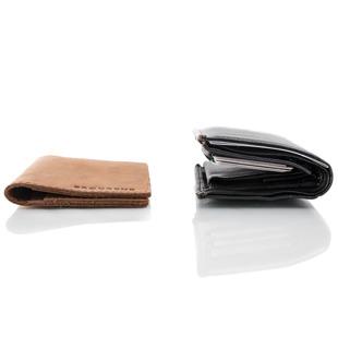 Skórzany cienki portfel slim wallet BRODRENE SW01 jasnobrązowy