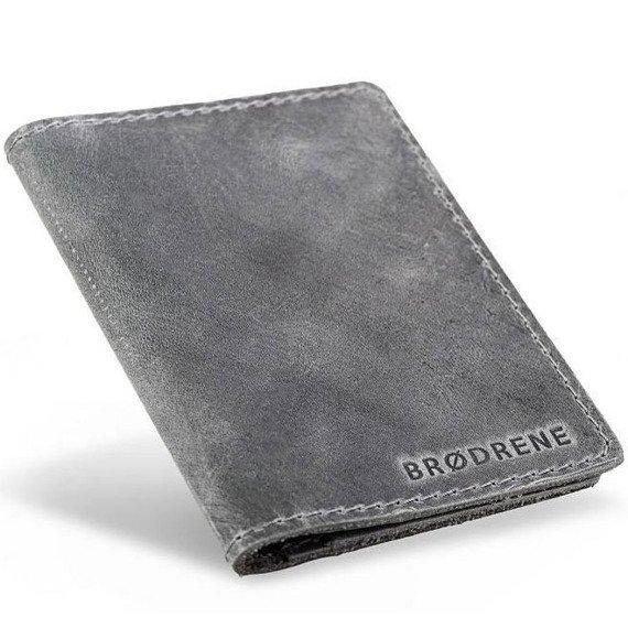 Skórzany cienki portfel slim wallet BRODRENE SW07 szary