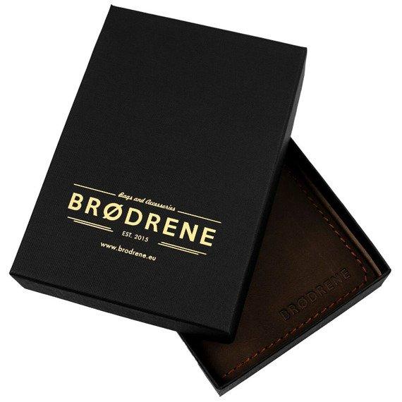 Skórzany zestaw portfel i bilonówka BRODRENE SW07 + CW02 szary