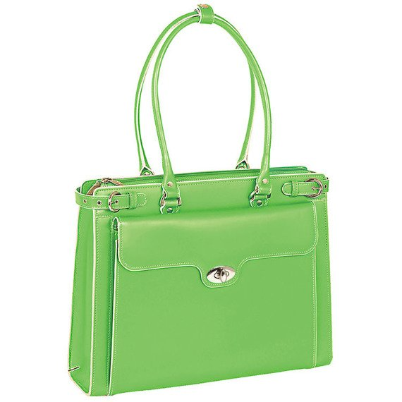 """Mcklein Winnetka 94831 skórzana torba damska na laptopa 15,4"""" zielona"""