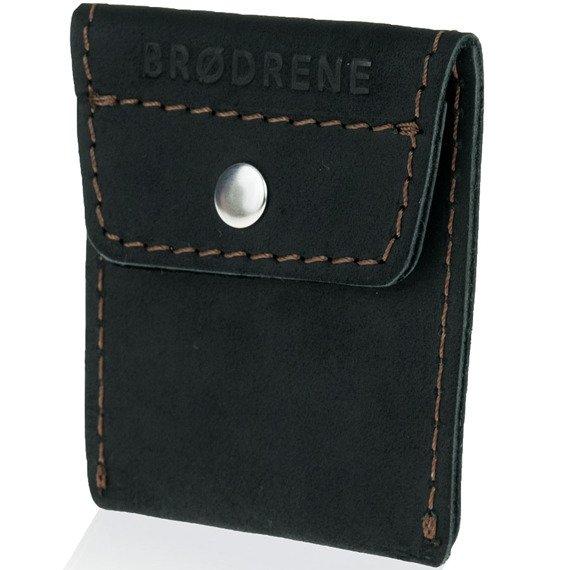 Skórzany zestaw portfel i bilonówka BRODRENE SW07 + CW02 czarny