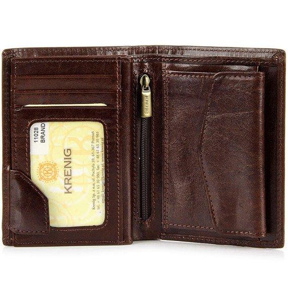 KRENIG El Dorado 11028 brązowy portfel skórzany męski w pudełku