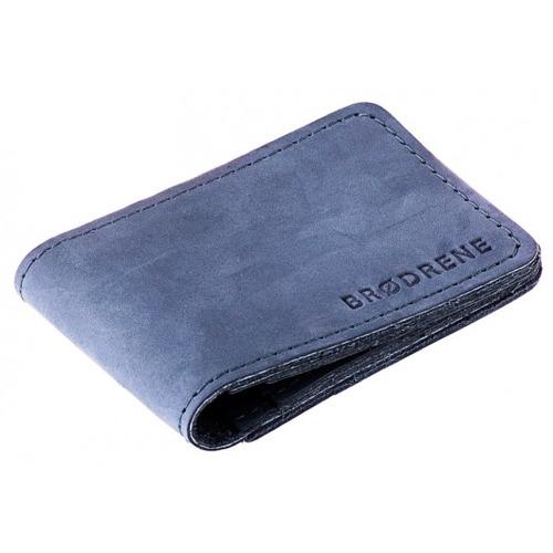 Skórzany cienki portfel slim wallet BRODRENE SW02N granatowy