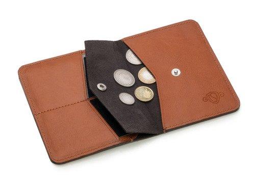 Skórzany cienki portfel męski z bilonówką SOLIER SW15 SLIM jasny brąz