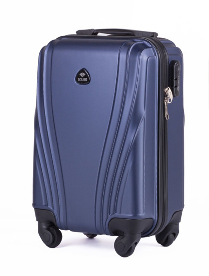 Mała walizka podróżna na kółkach (bagaż podręczny) SOLIER STL319 S ABS granatowa