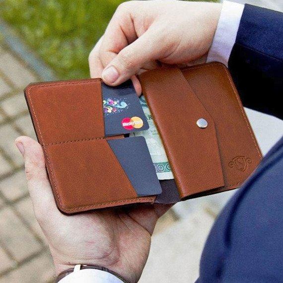 Skórzany cienki portfel męski z bilonówką SOLIER SW15 SLIM brąz