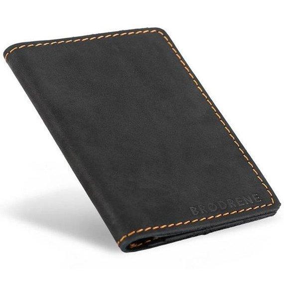 Skórzany cienki portfel slim wallet BRODRENE SW07 czarny