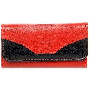 DAN-A P1A czerwono-czarny skórzany portfel damski