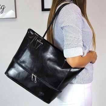 DAN-A T297 czarna torebka damska ze skóry naturalnej