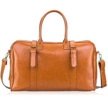 1dcd2c7448657 Skórzana torba męska podróżna, weekendowa Solier jasnobrązowa