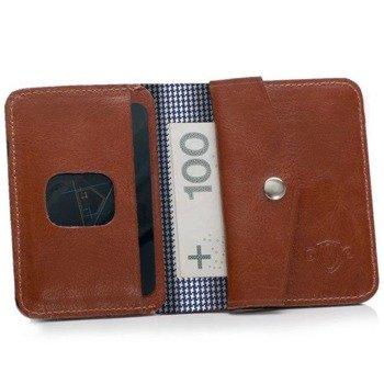 1d9204cf66925 Skórzany cienki portfel męski z bilonówką SOLIER SW16A SLIM brązowy