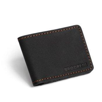 Skórzany cienki portfel slim wallet BRODRENE SW02B czarny