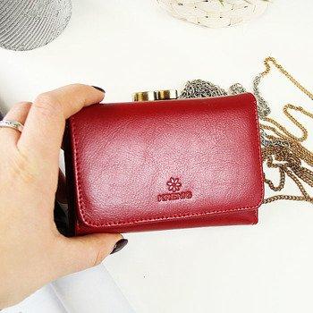 Skórzany portfel damski w pudełku KRENIG Trendy 12009 czerwony