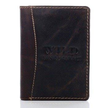 Skórzany portfel męski w pudełku ciemnobrązowy GA94