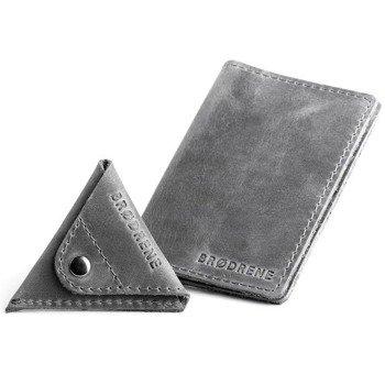 Skórzany zestaw portfel i bilonówka BRODRENE SW05 + CW01 szary