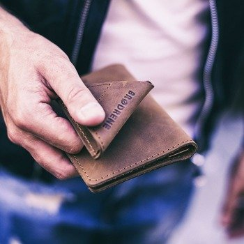 Skórzany zestaw portfel i bilonówka BRODRENE SW07 + CW01 jasnobrązowy