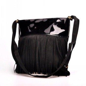 Włoska torebka skórzana, plecak z frędzlami MADE IN ITALY Postino 173 czarna