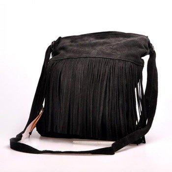 Włoska torebka skórzana, plecak z frędzlami MADE IN ITALY Postino 175 czarna