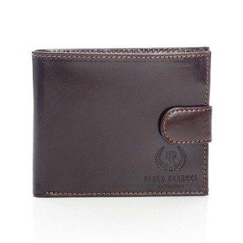 Włoski skórzany portfel męski w pudełku brązowy GA55