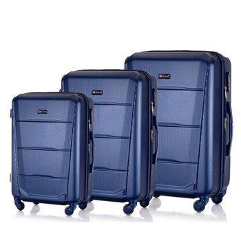 Zestaw walizek podróżnych twardych ABS SOLIER STL946 granatowy