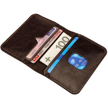 Cienki skórzany portfel męski Solier SW11 brązowy