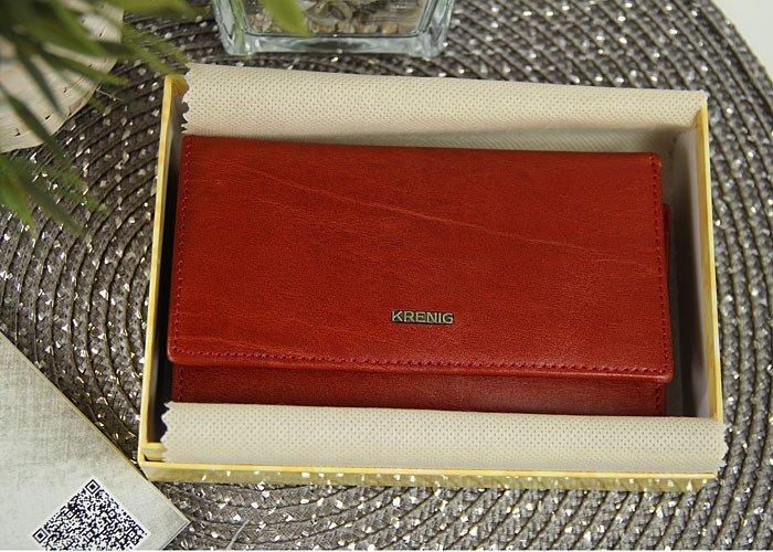 b39ddf190f48a ... KRENIG El Dorado 11022 - EKSKLUZYWNY czerwony SKÓRZANY PORTFEL DAMSKI w  pudełku ...