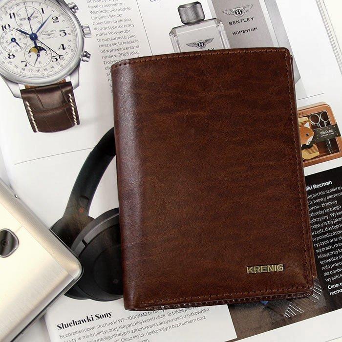 df9233dfee6ff KRENIG El Dorado 11028 brązowy portfel skórzany męski w pudełku ...