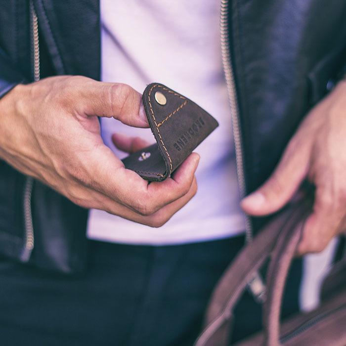 Skórzana bilonówka coin wallet BRODRENE CW01 ciemnobrązowa