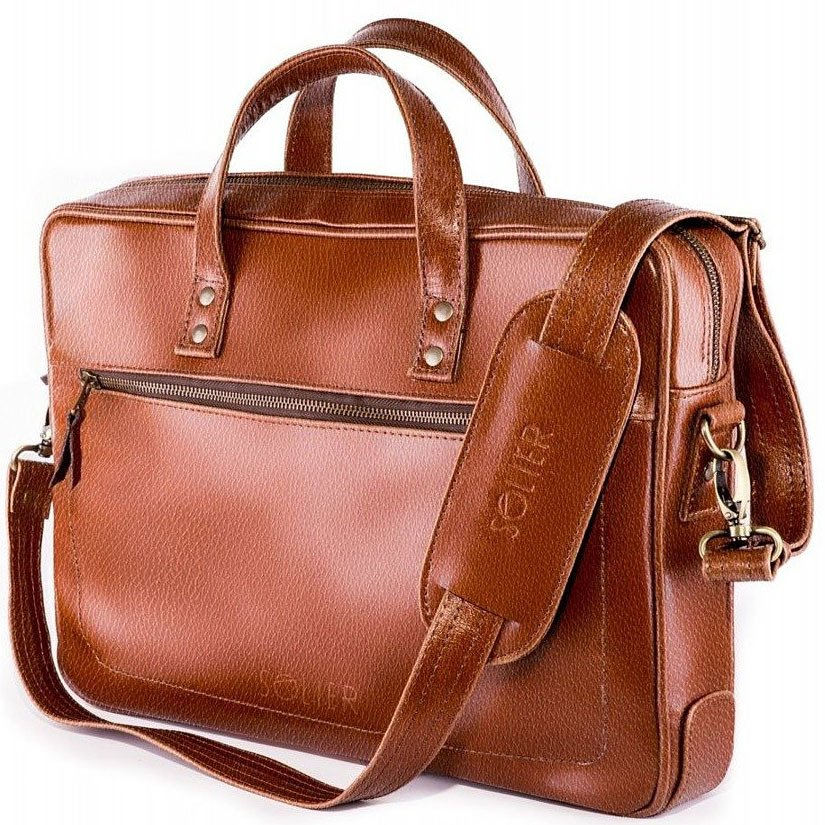 8a783c6d5d42a Skórzana męska torba na laptopa SOLIER brązowa -  17416 ...