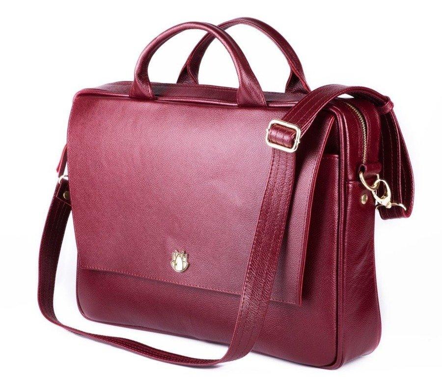 4f0e72e5ac368 Skórzana torba aktówka damska na laptopa FELICE burgundowa -  17525 ...