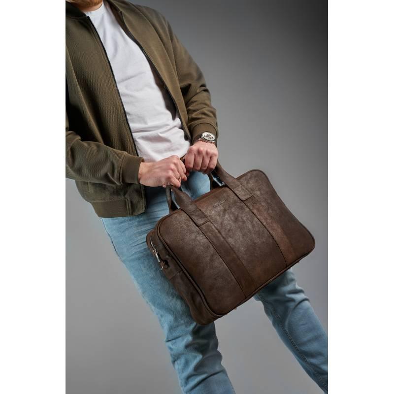 Skórzana torba męska na ramię BRODRENE BL01 ciemnobrązowa
