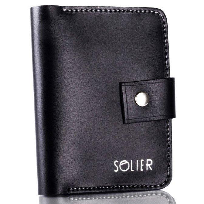 4942451081c0c Skórzany cienki męski portfel z miejscem na monety SOLIER SW17 czarny  vintage ...