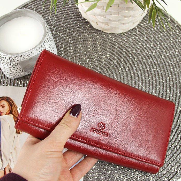 42dc6773a5b9c Skórzany portfel damski KRENIG Classic 12015 czerwony w pudełku ...