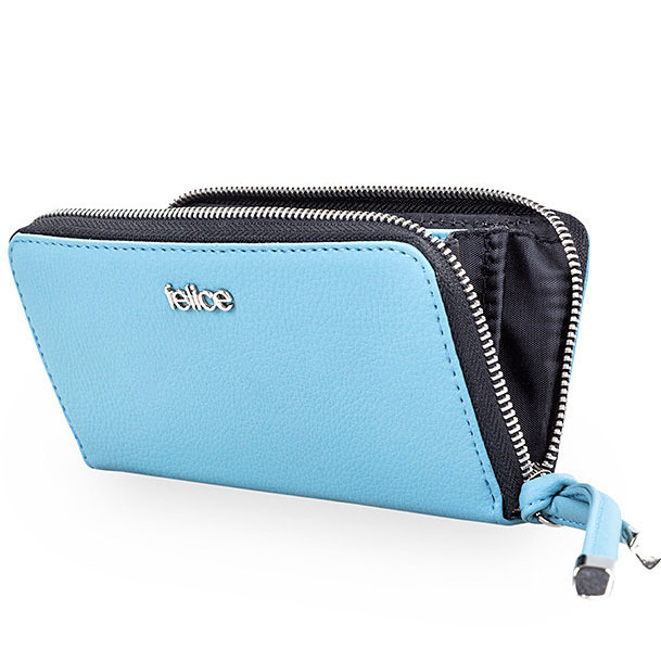Skórzany portfel damski kopertówka P02A błękitny