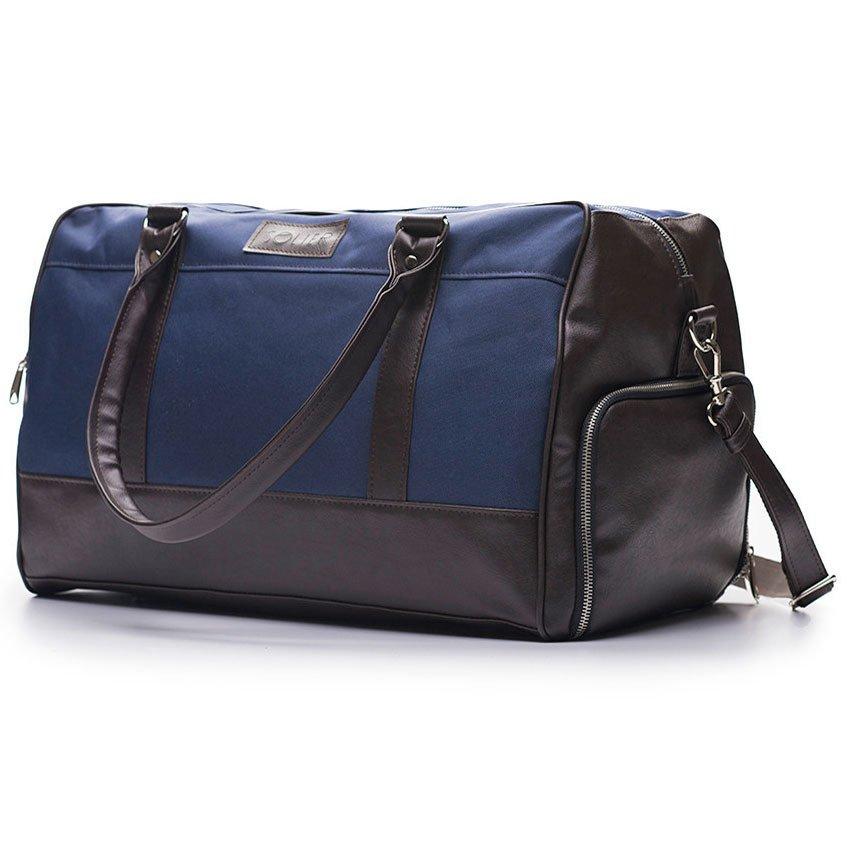 13954053fe85e Sportowa torba weekendowa męska Solier granatowo-brązowa -  14809 ...