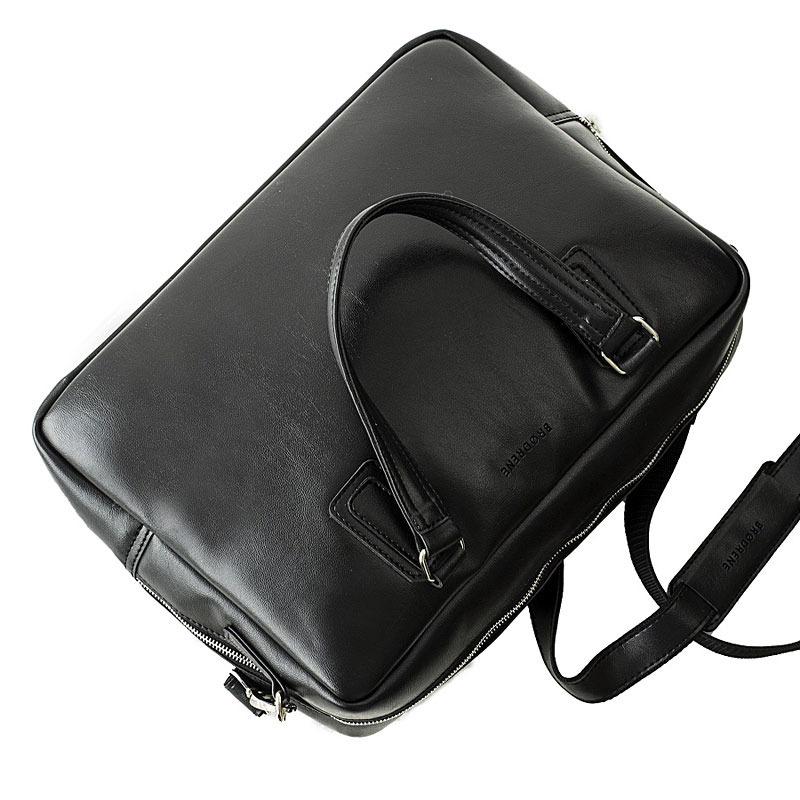 Torba męska na laptopa do ręki i na ramię BRODRENE B13 czarna