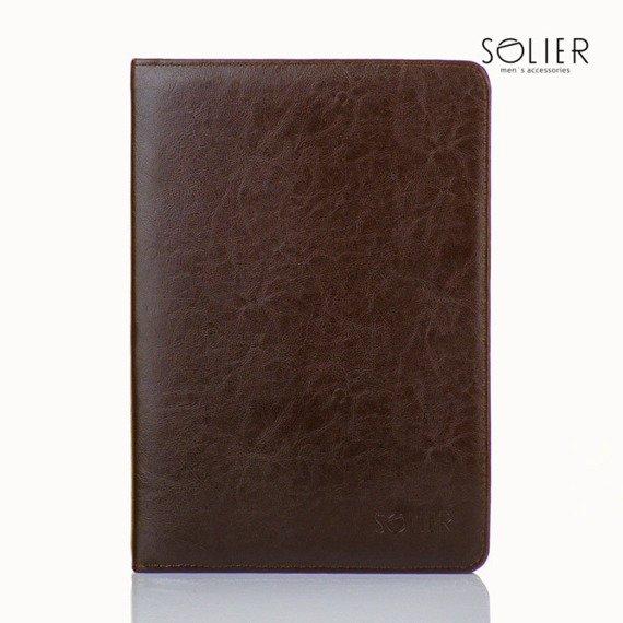 Aktówka biwuar na dokumenty A4 Solier ST01 ciemny brąz