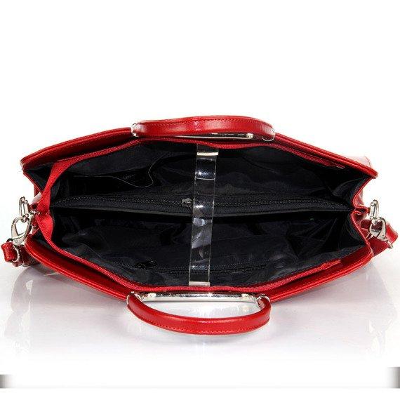 Aktówka kuferek ze skóry naturalnej DAN-A T260 czerwona
