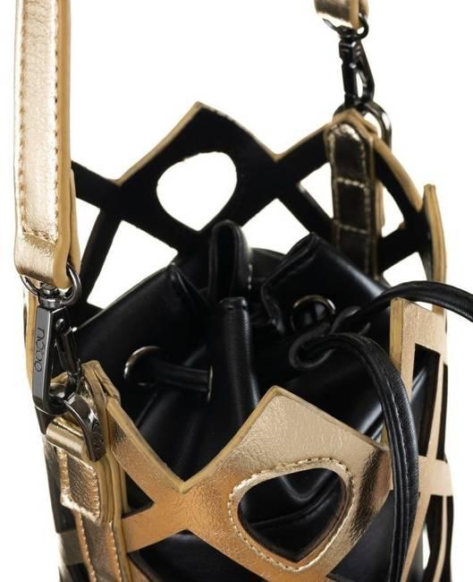Ażurowy worek czarno-złoty Nobo  NBAG-K3010-CM23