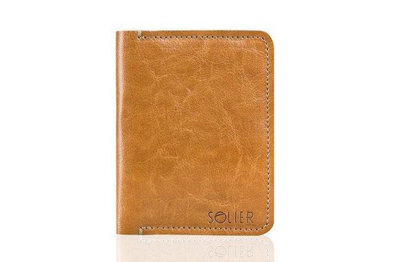 Cienki skórzany portfel męski Solier SW10 jasnobrązowy