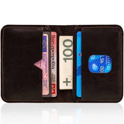 Cienki skórzany portfel męski Solier SW11 ciemnobrązowy