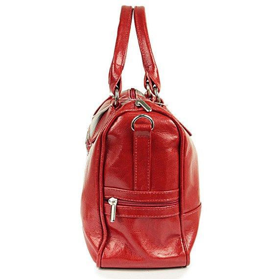 DAN-A T87 czerwona torebka skórzana damska kuferek