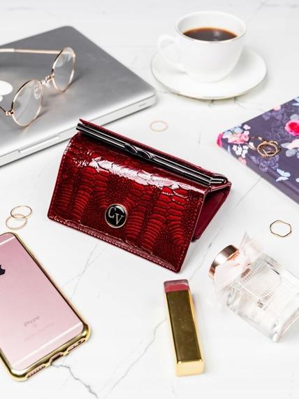 Ekskluzywny skórzany portfel damski czerwony Cavaldi
