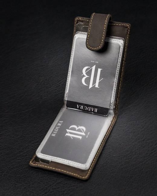 Etui na karty brązowe Badura  TW-02-MH-BA BROWN