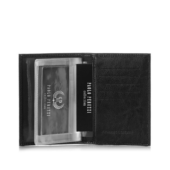 Etui skórzane na karty czarne Paolo Peruzzi H-06