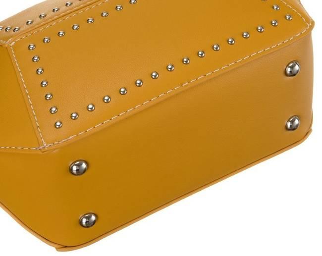Geometryczna listonoszka żółta zdobiona ćwiekami David Jones CM5605 YELLOW