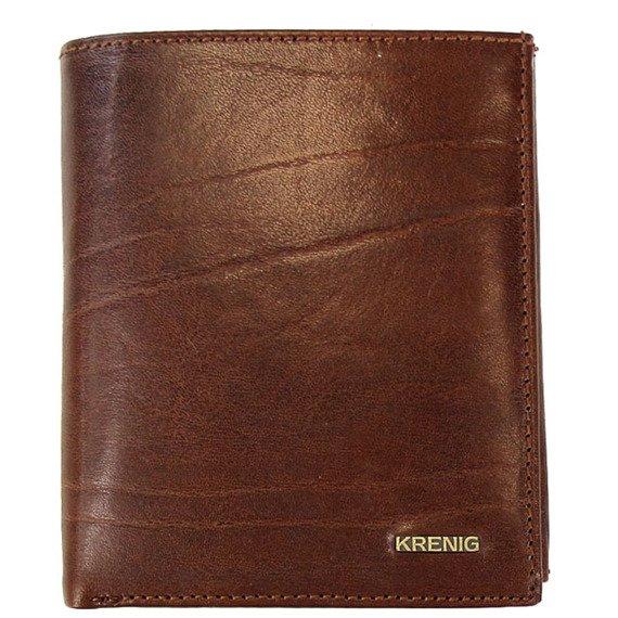 KRENIG El Dorado 11040 - ESKLUZYWNY brązowy  SKÓRZANY PORTFEL MĘSKI w pudełku