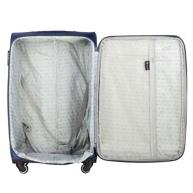 Mała podręczna walizka miękka S Solier STL1706 niebieska